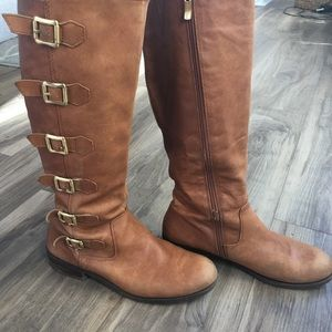 BCBGeneration Tan Kiev Tall Leather Riding Boots